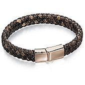 Fred Bennett Stainless Steel Wide Plaited Brown Leather Rose PVD Bracelet
