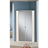 Amos Mann furniture Milano 2 Door Corner Wardrobe - Mirrored - White