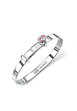 Children's D for Diamond Silver Pink Heart Baby Bangle - 48mm