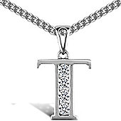 Jewelco London Sterling Silver Cubic Zirconia Identity Pendant - Initial T - 18inch Chain