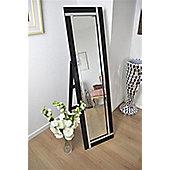 Modern Double Black Mirror Free Standing Cheval Mirror 5Ft X 1Ft3 150Cm X 40Cm