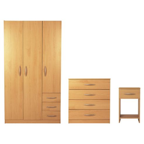 Ashton Triple Wardrobe Furniture Set, Beech