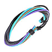 Urban Male Black Leather & Coloured Cord Surfer Style Bracelet