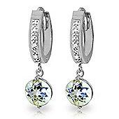 QP Jewellers Aquamarine & SI-2 Diamond Studded Huggie Earrings in 14K White Gold