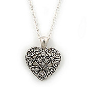 Small Burn Silver Marcasite Crystal 'Heart' Pendant With Silver Tone Chain - 40cm Length/ 5cm Extension