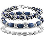 Urban Male Stainless Steel Chain & Bead Bracelets Set For Men