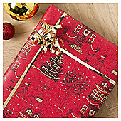 Tesco Glittered Town Scene Christmas Wrapping Paper, 3m