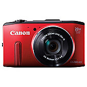 "Canon PowerShot SX280 HS Digital Camera, Red, 12.1 MP, 20x Optical Zoom, 3"" LCD"
