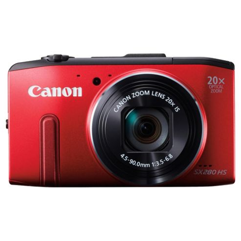 Canon Powershot SX280 Digital Camera, Red, 12.1MP, 20x Optical Zoom, 3
