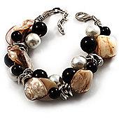 Faux Pearl & Shell - Composite Silver Tone Link Bracelet ( Antique White & Black)