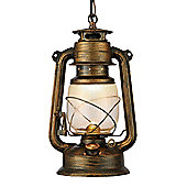 Traditional Black Gold Lantern Pendant Light with White Hurricane Glass