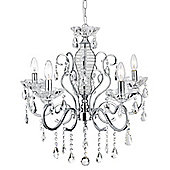 Glamorous Chrome Chandelier with Crystal Decoration