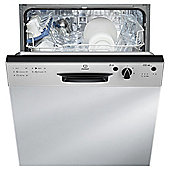 Indesit DPG15B1NX, Built In, Partial Integrated, Fullsize Dishwasher, A+ Energy Rating, Inox
