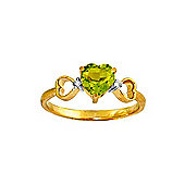 QP Jewellers Diamond & Peridot Trinity Heart Ring in 14K Gold