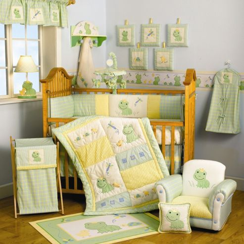 Lambs & Ivy Froggy Tales 6 Piece Luxury Bedding Set