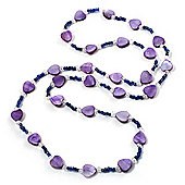 Lavender Heart Shell & Bead Long Necklace -100cm Length