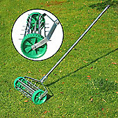 Outsunny Garden Rolling Lawn Aerator Steel Grass w/ Adjustable Handle in Silver