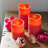 Set of 3 Red Distressed Wax Battery LED Candles