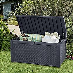 Keter Borneo Rattan Style 400L Garden Storage Box Anthracite