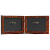 Addison Ross Marquetry Double Landscape Photo Frame with Dark Brown Poplar Fibre Back - 7 in x 5 in
