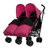 Obaby Apollo Black & Grey Twin Stroller with 2 Pink Footmuffs - Pink