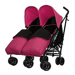 Obaby Apollo Black & Grey Twin Stroller with 2 Pink Footmuffs - Pink