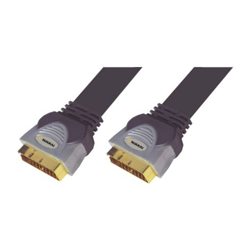 Nikkai Flat Universal Scart To Scart Lead Cable Gold 3M