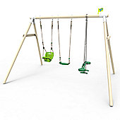 TP Toys Triple Round Wood Swing Set with Skyride, Early Fun Seat and Deluxe Seat - FSC