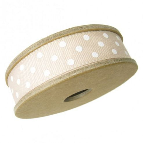 Ribbon Reel - Dotty Peach with White