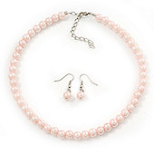 Pale Pink Glass Bead Necklace & Drop Earring Set In Silver Metal - 38cm Length/ 4cm Extension