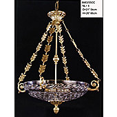 Martinez Y Orts Four Light Clear Cut Crystal Glass Pendant - Antique French Gold