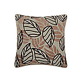 Linea Leaf Design Chenille Cushion In Chocolate