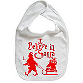 Dirty Fingers I believe in Santa Festive Christmas Bib White