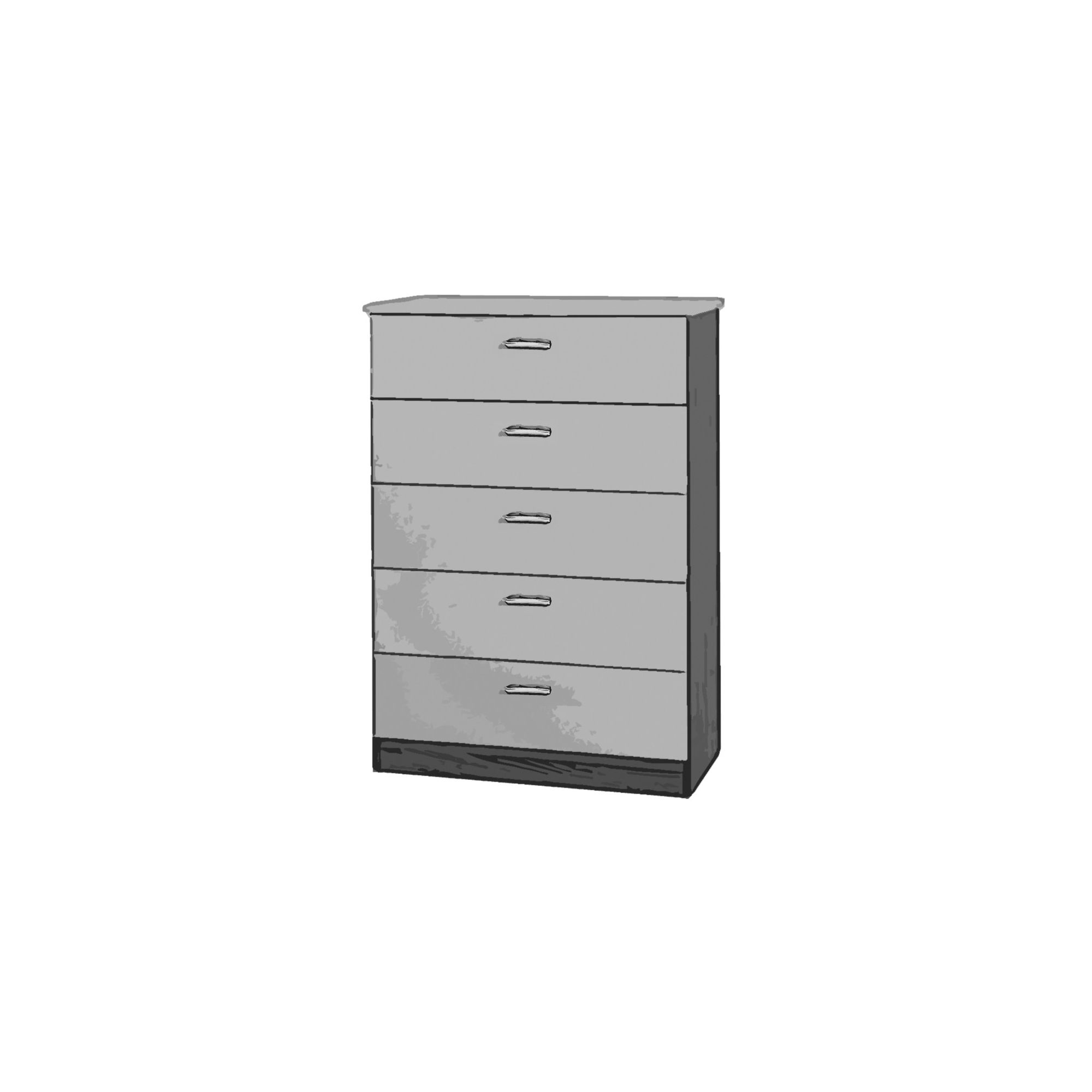 Welcome Furniture Mayfair 5 Drawer Chest - Aubergine - Black - Black at Tesco Direct