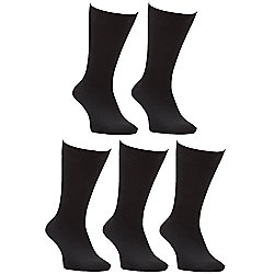 F&F 5 Pair Pack of Fresh Feel Socks shoe Adult 09 - 12 Black