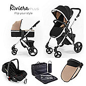 Riviera Plus 3 in 1 Silver Travel System, Black & Taupe