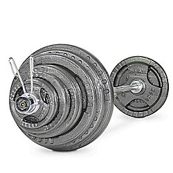 Bodymax 145kg Olympic Cast Tri-Grip Barbell Kit with 7ft Bar