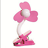 Dreambaby Clip On Stroller Fan White with Pink Fins