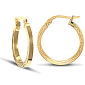 Jewelco London 9ct Yellow gold square-tube hoop earrings with engraved wavy design