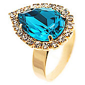 Pear-Cut Turquoise Crystal Ring