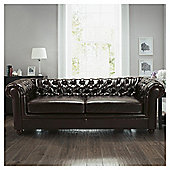 Chesterfield Leather Sofa Bed, Brown