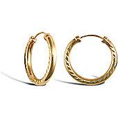 9ct Yellow Gold Hoop Earrings - 18.4mm