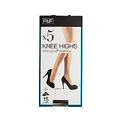 F&F 5 Pack of 15 Denier Knee Highs One Size Barely Black