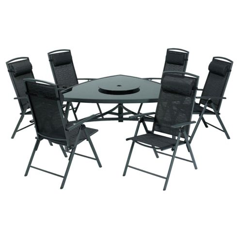 Valencia 150 cm Triangular Glass Table & 6 Recliner Dining Set - Black