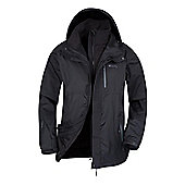 Bracken Mens 3 in 1 Waterproof Outer and Detatchable Softshell Inner Coat Jacket - Black