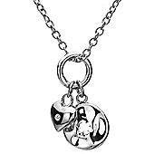 IT Diamonds Rhodium AMOUR Diamond Heart Flower Pendant Necklace