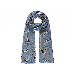 Blue Bird and Blossom Print Long Scarf
