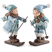 Yule & Noelle the Glittery Blue Skiing Winter Children Christmas Figurine Ornaments