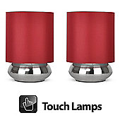 Pair of Touch Table Lamps in Brushed Chrome with Red Shades