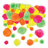 Fluorescent Pom-Poms Creative Set for Children to Make Models or Personalise and Embellish Arts & Crafts (Pack of 100)